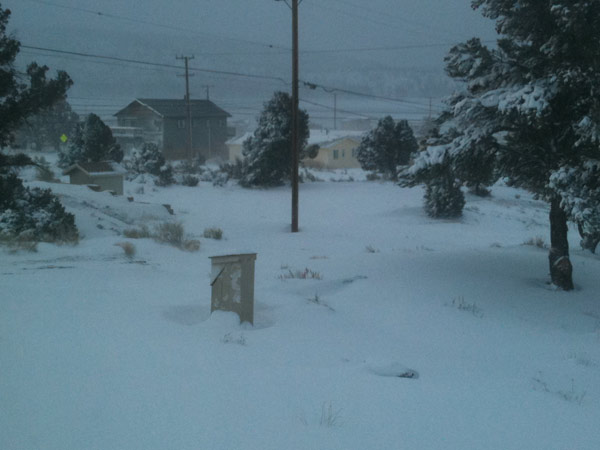 An ABC7 viewer sent in this photo of snow in Big Bear on Monday March 21, 2011.  When You Witness breaking news, or even something extraordinary, send pictures and video to video@myabc7.com, or send them to @abc7 on Twitter  <span class=meta>(KABC photo&#47; ABC7 viewer)</span>