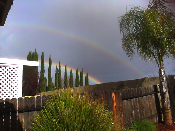 "<div class=""meta ""><span class=""caption-text "">ABC7 viewer Santina Peterson sent in this photo of a double rainbow in Murrieta, Calif. on Monday, March 21, 2011.  When you witness breaking news happen, send your photos to video@myabc7.com, or send them to @abc7 on Twitter (ABC7 viewer Santina Peterson)</span></div>"