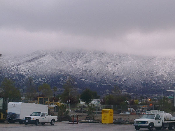 An ABC7 viewer sent in this photo of snow-covered mountains in Yucaipa on Monday, March 21, 2011.