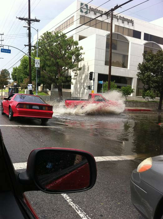 ABC7 news assistant Jason Marshall sent in this photo of flooding from rain in Van Nuys on Saturday, Sept. 10, 2011. <span class=meta>(Jason Marshall)</span>