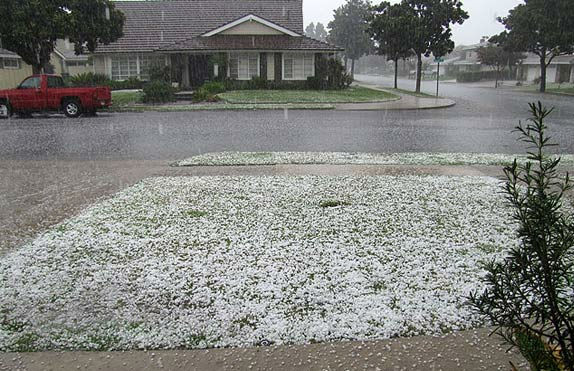 "<div class=""meta ""><span class=""caption-text "">ABC7 viewer Jeffrey Rogers shows the remnants of a hail storm that passed over Tustin on Saturday, Sept. 10, 2011. (Jeffrey Rogers)</span></div>"