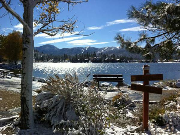 ABC7 viewer Joe Gorman sent in this photo of snow in Big Bear Lake, Calif. on Sunday Nov. 6, 2011.