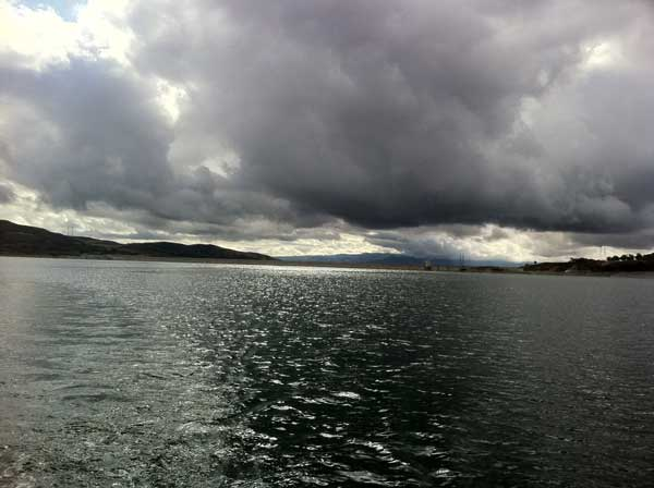 ABC7 viewer John Ragsdale sent in this photo of clouds over Castaic Lake in Castaic, Calif. on Sunday Nov. 6, 2011.