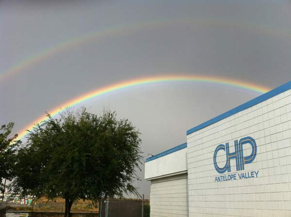 ABC7 viewer Jody Talbot sent in this photo of a double rainbow over the Antelope Valley California Highway Patrol office on Sunday Nov. 6, 2011.  When You Witness breaking news, or even something extraordinary, send pictures and video to video@myabc7.com, or send them to @abc7 on Twitter <span class=meta>(KABC photo &#47; Jody Talbot)</span>