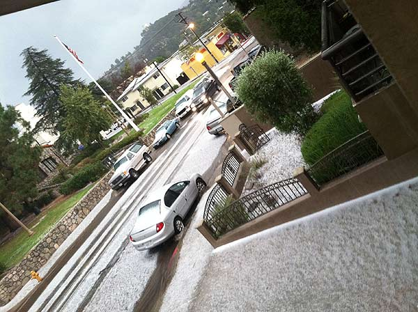 An ABC7 viewer sent in this photo of snow in Tujunga on Sunday Nov. 6, 2011.  When You Witness breaking news, or even something extraordinary, send pictures and video to video@myabc7.com, or send them to @abc7 on Twitter  <span class=meta>(KABC photo)</span>