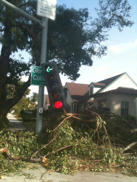 ABC7 viewer Kristy Walker sent in this photo of a knocked down traffic light in Glendale, Calif. on Thursday, Dec. 1, 2011. &#160;When you witness breaking news happen, send your photos to video@myabc7.com, or send them to @abc7 on Twitter <span class=meta>(KABC Photo&#47; ABC7 viewer Kristy Walker)</span>