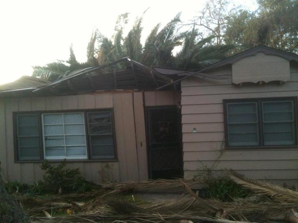 An ABC7 employee took this photo of damage from a fallen tree at her house in Pasadena on Thursday, Dec. 1, 2011.  When You Witness breaking news, or even something extraordinary, send pictures and video to video@myabc7.com, or send them to @abc7 on Twitter <span class=meta>(KABC Photo&#47; ABC7 employee)</span>