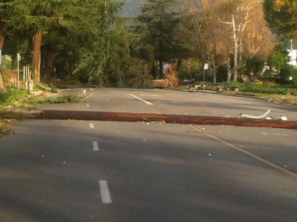 A power line fell onto a street in Arcadia, Calif., on Thursday, Dec. 1, 2011. <span class=meta>(KABC Photo)</span>