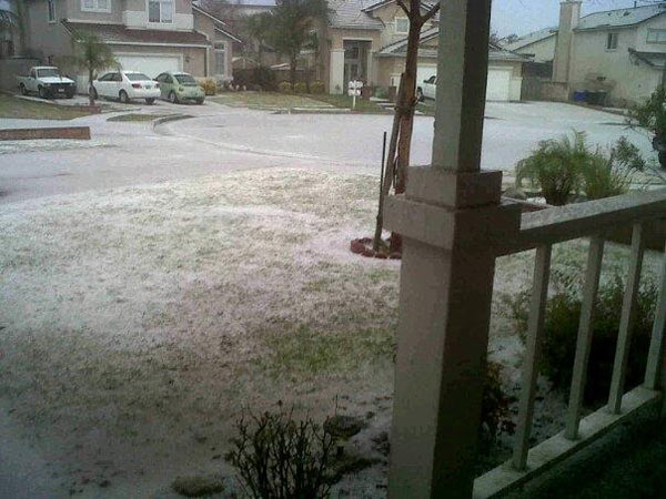 ABC7 viewer Jake Jager took this photo of hail in Rancho Cucamonga on Thursday, Dec. 15, 2011. &#160;When you witness breaking news happen, send your photos to video@myabc7.com, or send them to @abc7 on Twitter <span class=meta>(KABC Photo&#47; ABC7 viewer Jake Jager)</span>
