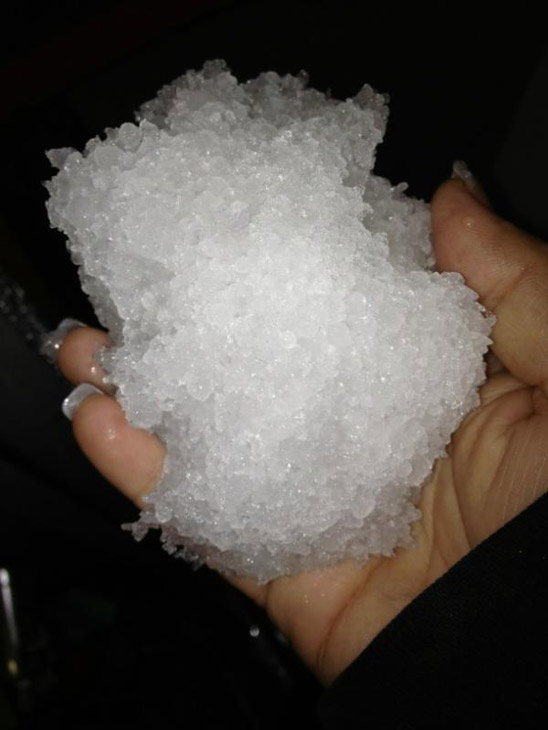 ABC7 viewer Kara Gilkey took this photo of hail or snow on the east side of Interstate 15 on 4th Street on Thursday, Dec. 15, 2011. &#160;When you witness breaking news happen, send your photos to video@myabc7.com, or send them to @abc7 on Twitter <span class=meta>(KABC Photo&#47; ABC7 viewer Kara Gilkey)</span>