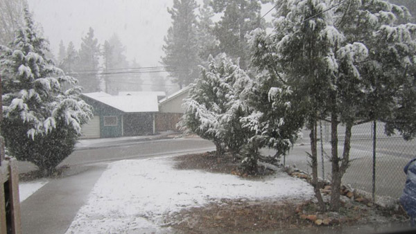 ABC7 viewer Denise Monteilh posted this photo to the ABC7 Facebook wall of snow in Big Bear City on Thursday, Dec. 15, 2011. &#160;When you witness breaking news happen, send your photos to video@myabc7.com, or post them to the ABC7 Weather Facebook page <span class=meta>(KABC Photo&#47; ABC7 viewer Denise Monteilh)</span>