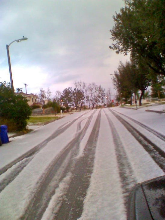 ABC7 viewer Kyle Watson posted this photo to the ABC7 Facebook wall of snow or hail in Rancho Cucamonga on Thursday, Dec. 15, 2011. &#160;When you witness breaking news happen, send your photos to video@myabc7.com, or post them to the ABC7 Weather Facebook page <span class=meta>(KABC Photo&#47; ABC7 viewer Kyle Watson)</span>