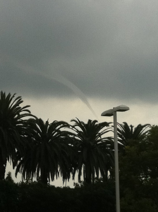 ABC7 viewer Jaime Nolte took this photo of a waterspout in Newport Beach, Calif., near Fashion Island on Thursday, Dec. 15, 2011.