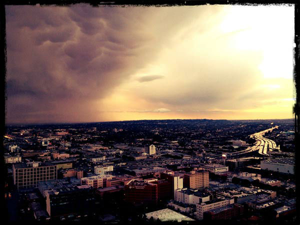 ABC7 viewer Jimmy Romero took this photo of clouds in Los Angeles, Calif., on Thursday, Dec. 15, 2011. When you witness breaking news happen, send your photos to video@myabc7.com, or send them to @abc7 on Twitter <span class=meta>(KABC Photo&#47; ABC7 viewer Jimmy Romero)</span>