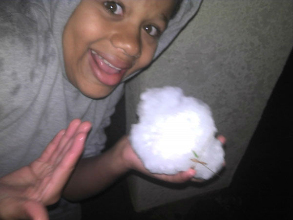 "<div class=""meta ""><span class=""caption-text "">ABC7 viewer Jeannie Howell took this photo of hail in Long Beach, Calif., on Thursday, Dec. 15, 2011. When you witness breaking news happen, send your photos to video@myabc7.com, or send them to @abc7 on Twitter (KABC Photo/ ABC7 viewer Jeannie Howell)</span></div>"
