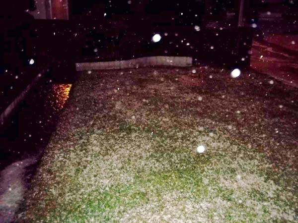 ABC7 viewer Nadine Falkenburg took this photo of hail in Paramount, Calif., on Thursday, Dec. 15, 2011.