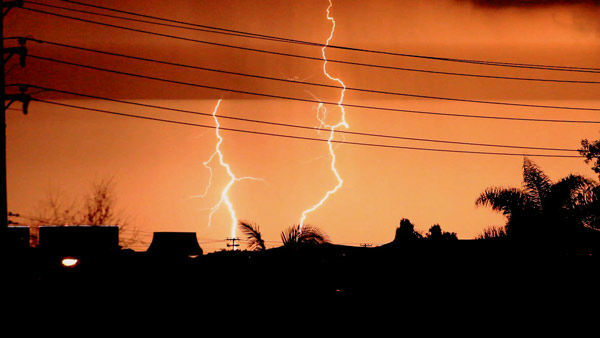 ABC7 viewer Bob Okvist took this photo of lightning in Laguna Hills, Calif., on Thursday, Dec. 15, 2011.