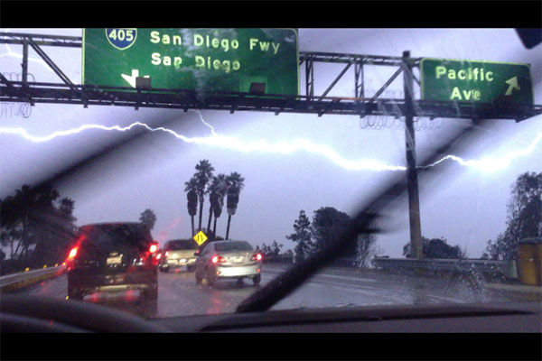An ABC7 viewer sent in this photo of lightning in Long Beach, Calif., on Thursday, Dec. 15, 2011.