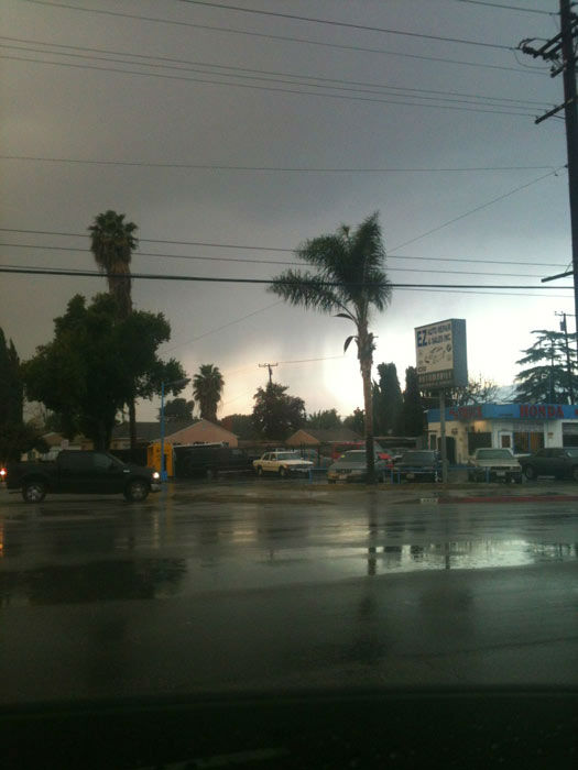 An ABC7 viewer took this photo of rain in Monrovia, Calif., on Thursday, Dec. 15, 2011.