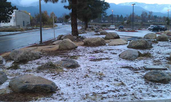 An ABC7 viewer took this photo of snow at Chaffey College in Rancho Cucamonga, Calif., on Thursday, Dec. 15, 2011. When you witness breaking news happen, send your photos to video@myabc7.com, or send them to @abc7 on Twitter <span class=meta>(KABC Photo&#47; ABC7 viewer)</span>