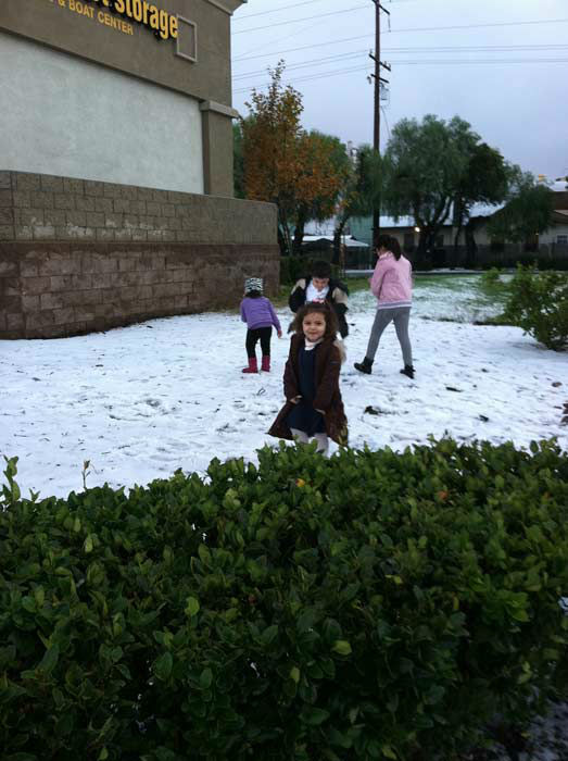 An ABC7 viewer took this photo of snow in Rancho Cucamonga, Calif., on Thursday, Dec. 15, 2011. When you witness breaking news happen, send your photos to video@myabc7.com, or send them to @abc7 on Twitter <span class=meta>(KABC Photo&#47; ABC7 viewer)</span>