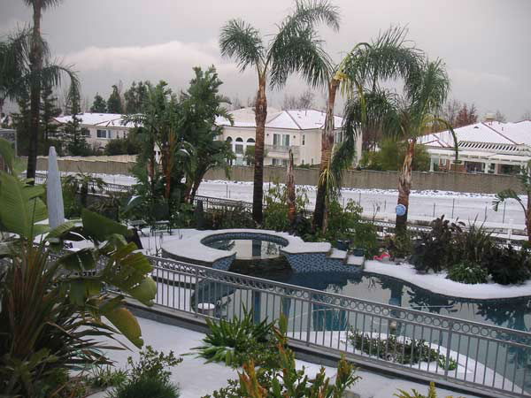 ABC7 viewer Cheryl Hoover took this photo of snow in Rancho Cucamonga, Calif., on Thursday, Dec. 15, 2011. When you witness breaking news happen, send your photos to video@myabc7.com, or send them to @abc7 on Twitter <span class=meta>(KABC Photo&#47; ABC7 viewer Cheryl Hoover)</span>