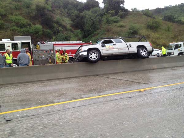 An ABC7 viewer sent in this picture of an accident on the northbound side of the 57 Freeway as a storm passed over Southern California on Saturday March, 17, 2012.  When You Witness breaking news, or even something extraordinary, send pictures and video to video@myabc7.com, or send them to @abc7 on Twitter or our ABC7 Facebook page. <span class=meta>(ABC7 viewer)</span>