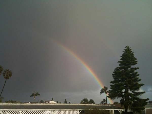 ABC7 viewer Ron Harrison of Ventura posted this picture of a rainbow on the ABC7 Facebook wall after a storm passed over Southern California on Saturday March, 17, 2012.  When You Witness breaking news, or even something extraordinary, send pictures and video to video@myabc7.com, or send them to @abc7 on Twitter or our ABC7 Facebook page. <span class=meta>(ABC7 viewer Ron Harrison)</span>