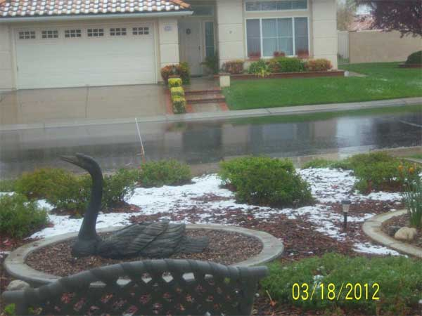 "<div class=""meta ""><span class=""caption-text "">ABC7 viewer Cherilyn Corwin sent in this photo of snow in Banning, Calif. after a storm passed over Southern California on Sunday March, 18, 2012.  When You Witness breaking news, or even something extraordinary, send pictures and video to video@myabc7.com, or send them to @abc7 on Twitter or our ABC7 Facebook page. (ABC7 viewer Cherilyn Corwin)</span></div>"