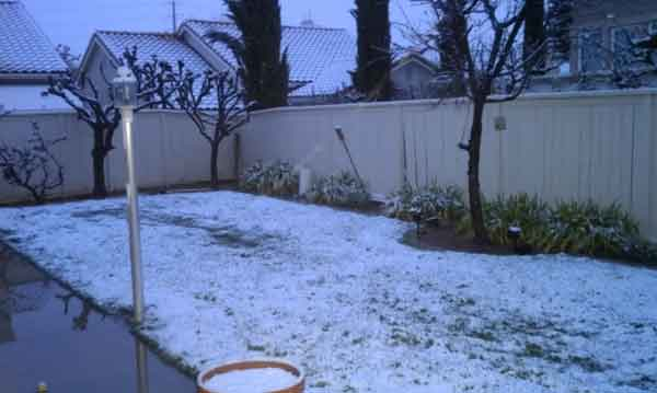 ABC7 viewer Steve Williams sent in this photo of snow in Banning, Calif. after a storm passed over Southern California on Sunday March, 18, 2012.  When You Witness breaking news, or even something extraordinary, send pictures and video to video@myabc7.com, or send them to @abc7 on Twitter or our ABC7 Facebook page. <span class=meta>(ABC7 viewer Steve Williams)</span>