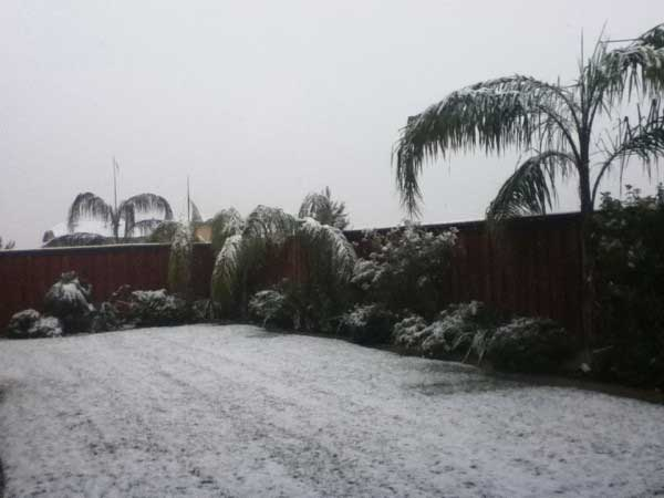 ABC7 viewer Lizzy sent in this photo of snow in Beaumont, Calif. after a storm passed over Southern California on Sunday March, 18, 2012.  When You Witness breaking news, or even something extraordinary, send pictures and video to video@myabc7.com, or send them to @abc7 on Twitter or our ABC7 Facebook page. <span class=meta>(ABC7 viewer Lizzy)</span>