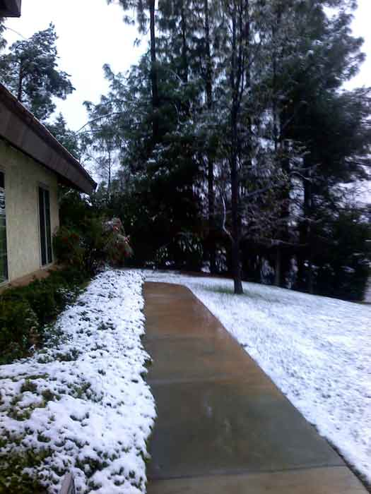 ABC7 viewer Carol Cash sent in this photo of snow in Yucaipa after a storm passed over Southern California on Sunday March, 18, 2012.  When You Witness breaking news, or even something extraordinary, send pictures and video to video@myabc7.com, or send them to @abc7 on Twitter or our ABC7 Facebook page. <span class=meta>(ABC7 viewer Carol Cash)</span>