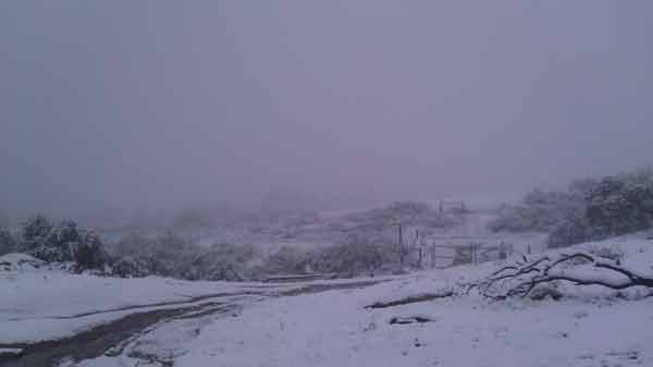 ABC7 viewer Scott Hemesath sent in this photo of snow in Hemet, Calif. after a storm passed over Southern California on Sunday March, 18, 2012.