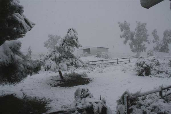 "<div class=""meta ""><span class=""caption-text "">ABC7 viewer John Ventuleth sent in this photo of snow in Hemet after a storm passed over Southern California on Sunday March, 18, 2012.  When You Witness breaking news, or even something extraordinary, send pictures and video to video@myabc7.com, or send them to @abc7 on Twitter or our ABC7 Facebook page. (ABC7 viewer John Ventuleth)</span></div>"