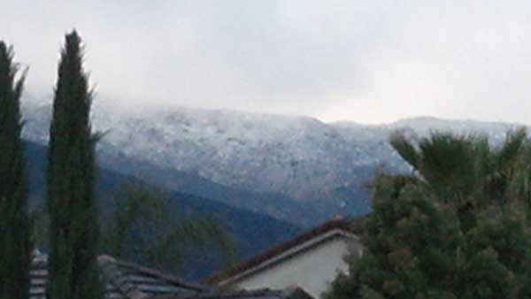 ABC7 viewer Becky Barroso sent in this photo of snow in Wildomar, Calif. after a storm passed over Southern California on Sunday March, 18, 2012.  When You Witness breaking news, or even something extraordinary, send pictures and video to video@myabc7.com, or send them to @abc7 on Twitter or our ABC7 Facebook page. <span class=meta>(ABC7 viewer Becky Barroso)</span>