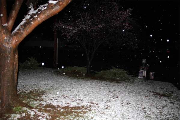 ABC7 viewer Lauralee Davis sent in this photo of snow in Yucaipa after a storm passed over Southern California on Sunday March, 18, 2012.  When You Witness breaking news, or even something extraordinary, send pictures and video to video@myabc7.com, or send them to @abc7 on Twitter or our ABC7 Facebook page. <span class=meta>(ABC7 viewer Lauralee Davis)</span>