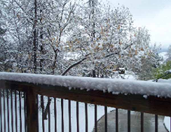 ABC7 viewer Robert Lampi sent in this photo of snow in Yucaipa after a storm passed over Southern California on Sunday March, 18, 2012.  When You Witness breaking news, or even something extraordinary, send pictures and video to video@myabc7.com, or send them to @abc7 on Twitter or our ABC7 Facebook page. <span class=meta>(ABC7 viewer Robert Lampi)</span>