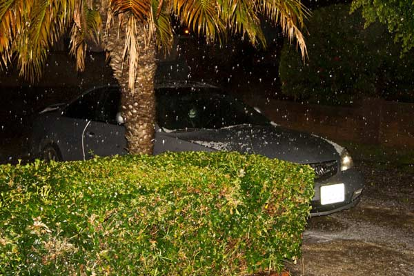 ABC7 viewer Joe Hernandez posted this photo on the ABC7 Facebook page of hail in Westminster as a powerful storm passed over Southern California on Sunday March, 25, 2012.