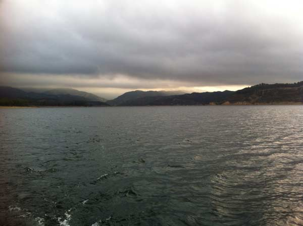 ABC7 viewer John Ragsdale sent in this photo of dark clouds over Castaic Lake as a powerful storm passed over Southern California on Sunday March, 25, 2012.