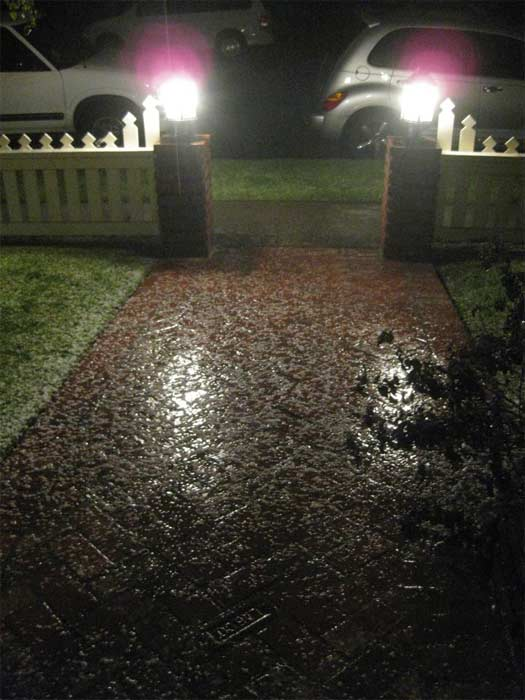 ABC7 viewer Maria Bergman Nickless posted this photo on the ABC7 Facebook page of hail in Costa Mesa as a powerful storm passed over Southern California on Sunday March, 25, 2012.