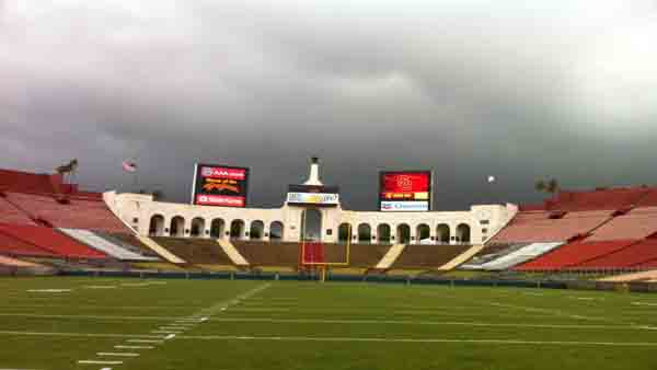 ABC7 viewer Cesar Barrios from Los Angeles sent in this photo of clouds swarming over the Los Angeles Coliseum on Friday, April 13, 2012.
