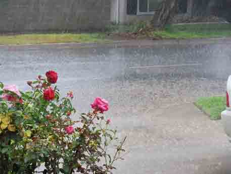 An ABC7 viewer sent in this photo of heavy downpour and flooding in Rancho Cucamonga on Friday, April 13, 2012.