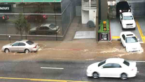 ABC7 viewer Fani Madrigal sent in this photo of cars driving down a flooded Ventura Boulevard on Friday, April 13, 2012.