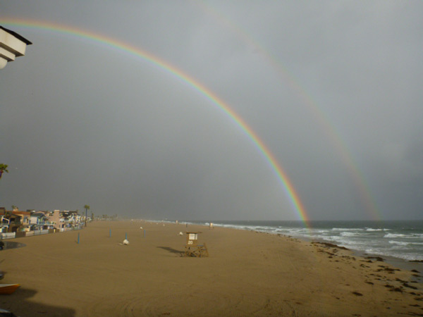 ABC7 viewer Josh van Egmond sent in this photo of a double rainbow off Newport Beach on Friday, April 13, 2012. &#160;When You Witness breaking news, or even something extraordinary, send pictures and video to video@abc7.com, or post them to the ABC7 Facebook page or to @abc7 on Twitter  <span class=meta>(ABC Viewer Josh van Egmond)</span>