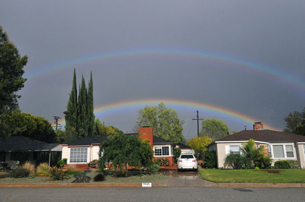 ABC7 viewer Scott Killeen sent in this photo of a double rainbow in Sherman Oaks on Friday, April 13, 2012. &#160;When You Witness breaking news, or even something extraordinary, send pictures and video to video@abc7.com, or post them to the ABC7 Facebook page or to @abc7 on Twitter  <span class=meta>(ABC Viewer Scott Killeen)</span>