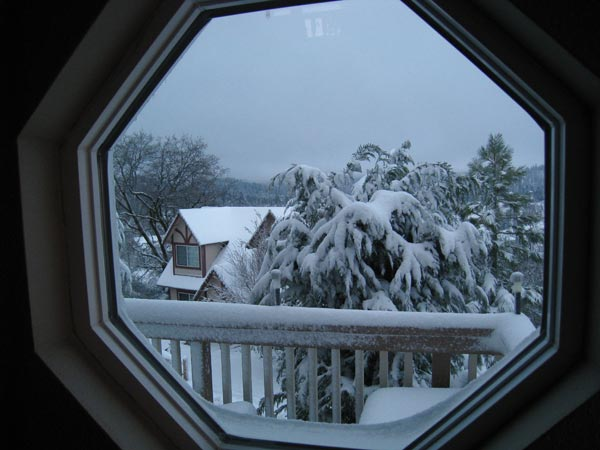 ABC7 viewer Robert Farino sent in this photo of snowfall outside his window on Saturday, April 14, 2012.