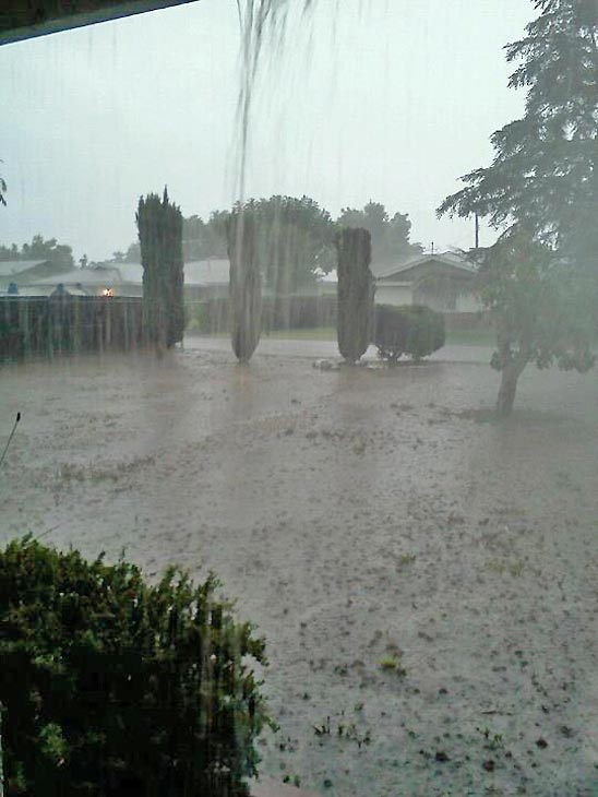 ABC7 viewer Mandy Utesch sent us this photo via Facebook of a downpour in Glen Avon on Thursday, Oct. 11, 2012.