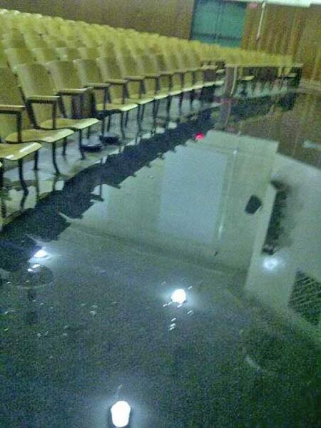 ABC7 viewer hurricanejane_ sent us this photo via Twitter of a flooded auditorium at South Gate High School following a bout of rain that hit Southern California on Thursday, Oct. 11, 2012. <span class=meta>(twitter.com&#47;hurricanejane_)</span>