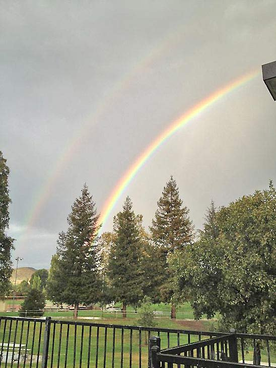 ABC7 viewer @kaboomfool sent us this photo via Twitter of a double rainbow in Thousand Oaks following a bout of rain that hit Southern California on Thursday, Oct. 11, 2012. <span class=meta>(twitter.com&#47;kaboomfool)</span>