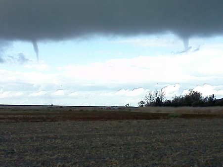ABC7 viewers John and Susan sent us this photo of a waterspout over the Bolsa Chica wetlands Friday, Oct. 12, 2012 following a bout of rain that hit Southern California on Thursday, Oct. 11, 2012.    <span class=meta>(ABC7 viewers John and Susan)</span>
